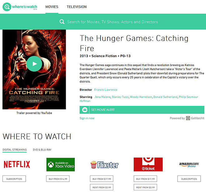 WhereToWatch - TV and Movie search ten times faster